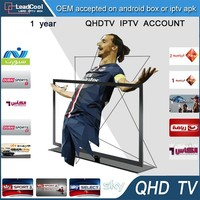 Crazy Promotion from Core Supplier 1 Year Qhdtv Iptv Account 600+ Channel Free Test No Indian Channels Iran Tv For Set Top Box