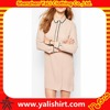 New model fintess plain cheap long sleeve contrast trim button up straight dress for office
