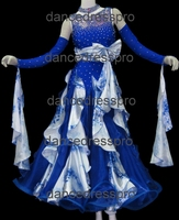 #2308 Customs-made Floral Printed Ballroom Waltz Dance Dress