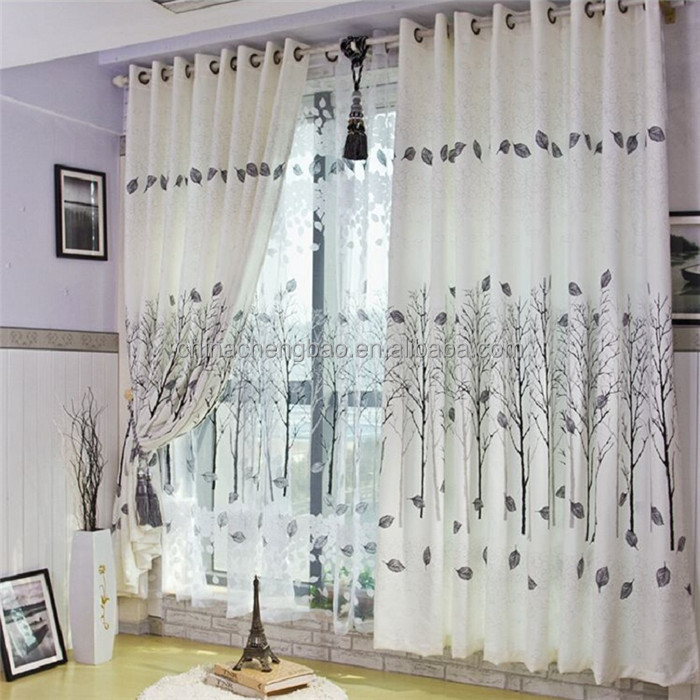 2017 latest designs scenery of blackout fabrics curtains