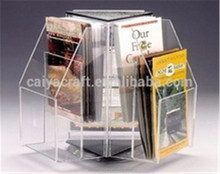 rotating clear acrylic 3 sides leaflet display holders