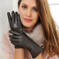 lady sheep leather finger touch screen gloves