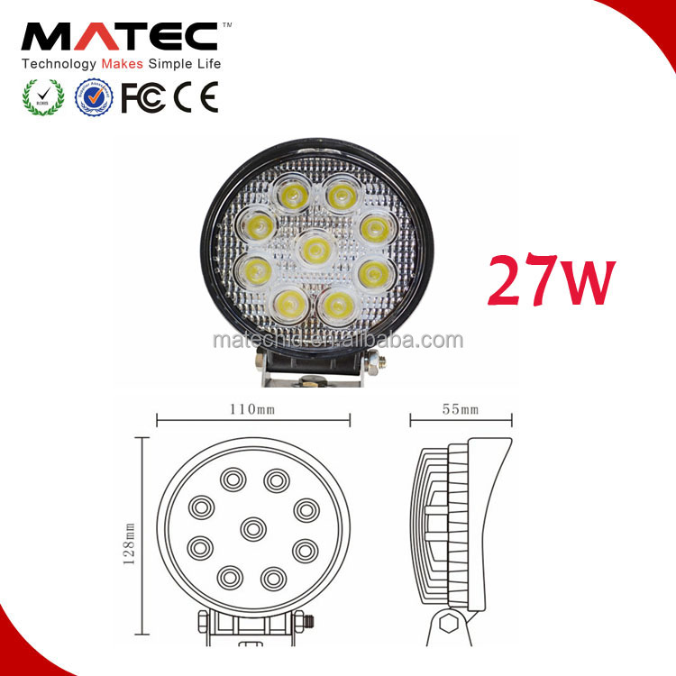 "4"" 27W 12V 24V LED Work Light Lamp 6000K WaterProof IP67 Flood 4x4 Jeep Tractor Motorcycle Fog Work Light"
