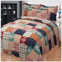 indian handmade cotton throw printed bedspread patchwork quilts 6 pcs satin sheets