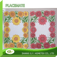 2016 100% polyester fabric custom puff special NEW printed placemat sunflower