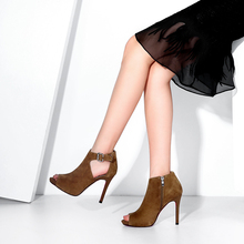 7445 Hot Fashion New Design peep toe brown and black leather sandal high heels boots