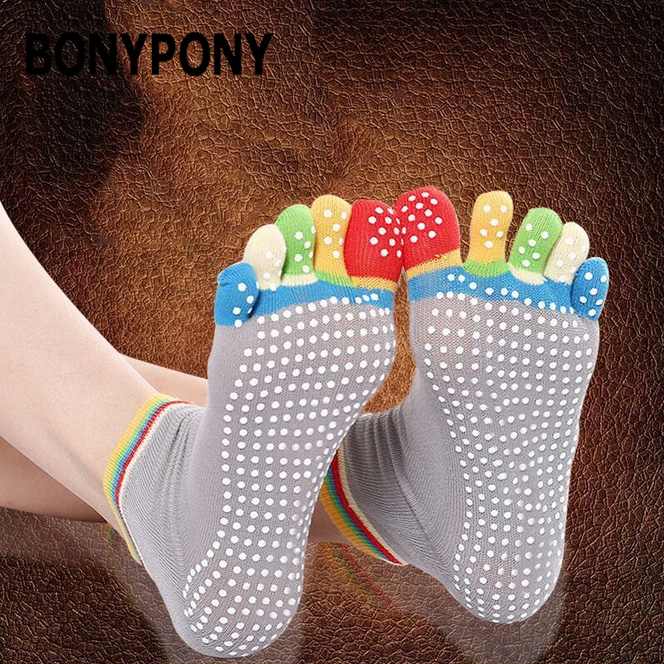 Bonypony Pilates Barre Sports Yoga Casual Floor Slipper Non Slip Toe Socks With Grips for Girls and Women