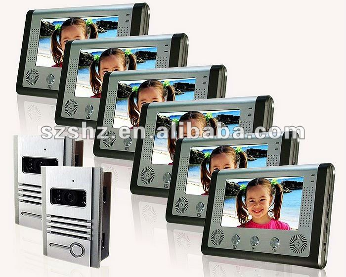 Hot selling 7'' apartment video door phone intercom system 2 to 6