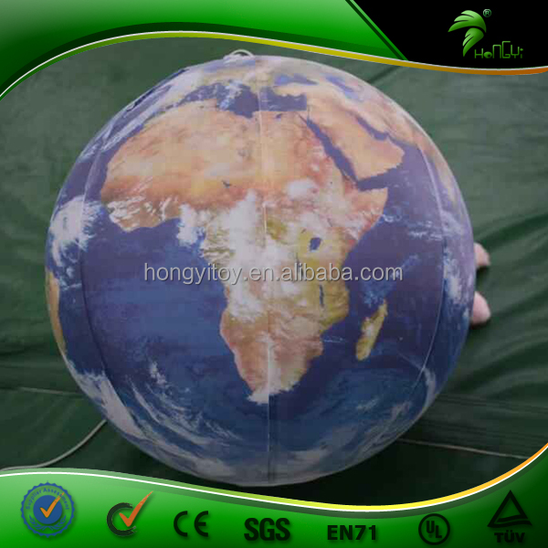 Top Sale Full Printing Mini Inflatable Earth, PVC Planet Balloon, Inflatable Hanging LED World Globes For Advertising