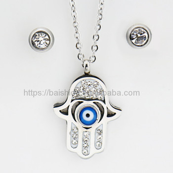 turkey evil eye jewelry steel color monster shape jewelry set shipping by air