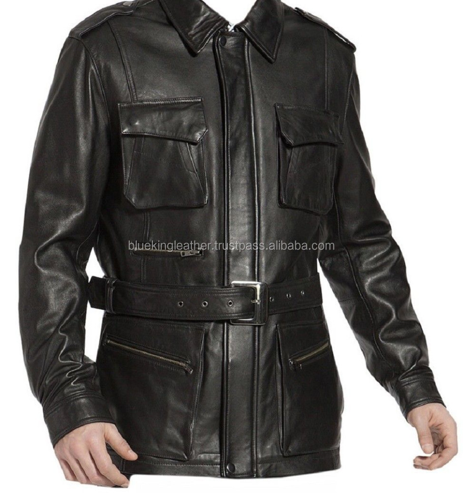 Men Fashion Genuine Leather Coat Classic with Belt