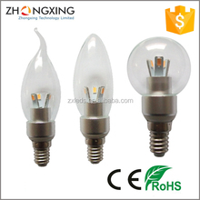 3w e12 e14 led candle light bulb Dimmable 3000K 120V 220V CE RoHS Approved