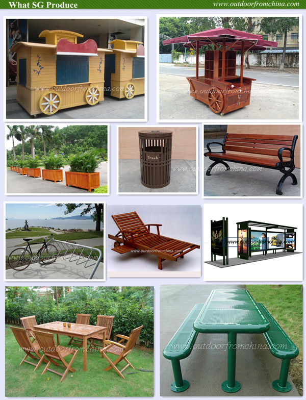 Popular Strong Solid wood steel frame, concrete sides park bench/outdoor bench/patio bench