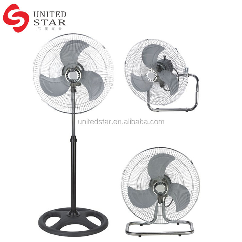 Industrial Ultrastrong Wind 3 Metal Blade 45Cm 18 Inch 3 in 1 Stand Fan