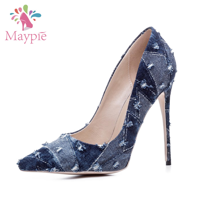 Italy Design Elegant Fashion Pencil High Heels Nice Ladies Christmas Blue Jean Shoes