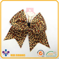 6 inch Fashion Leopard Grosgrain Ribbon Hair Bow