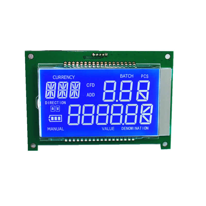 Segment LCD display STN Blue PIN type connector with pcb board for Cashing machine