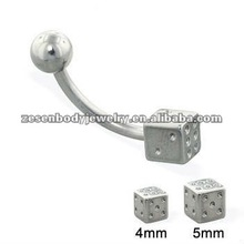 316L steel fashion dice eyebrow ring body piercing jewelry