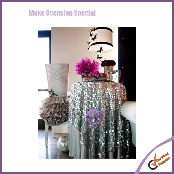 #18330 Fancy Shiny Glitter Gold Sequins Round Table Cloth
