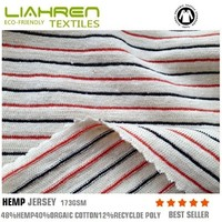 173gsm hemp organic cotton poly jersey strip fabric for baby clothes