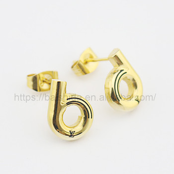 plain round shaped replica stud earrings no piercing