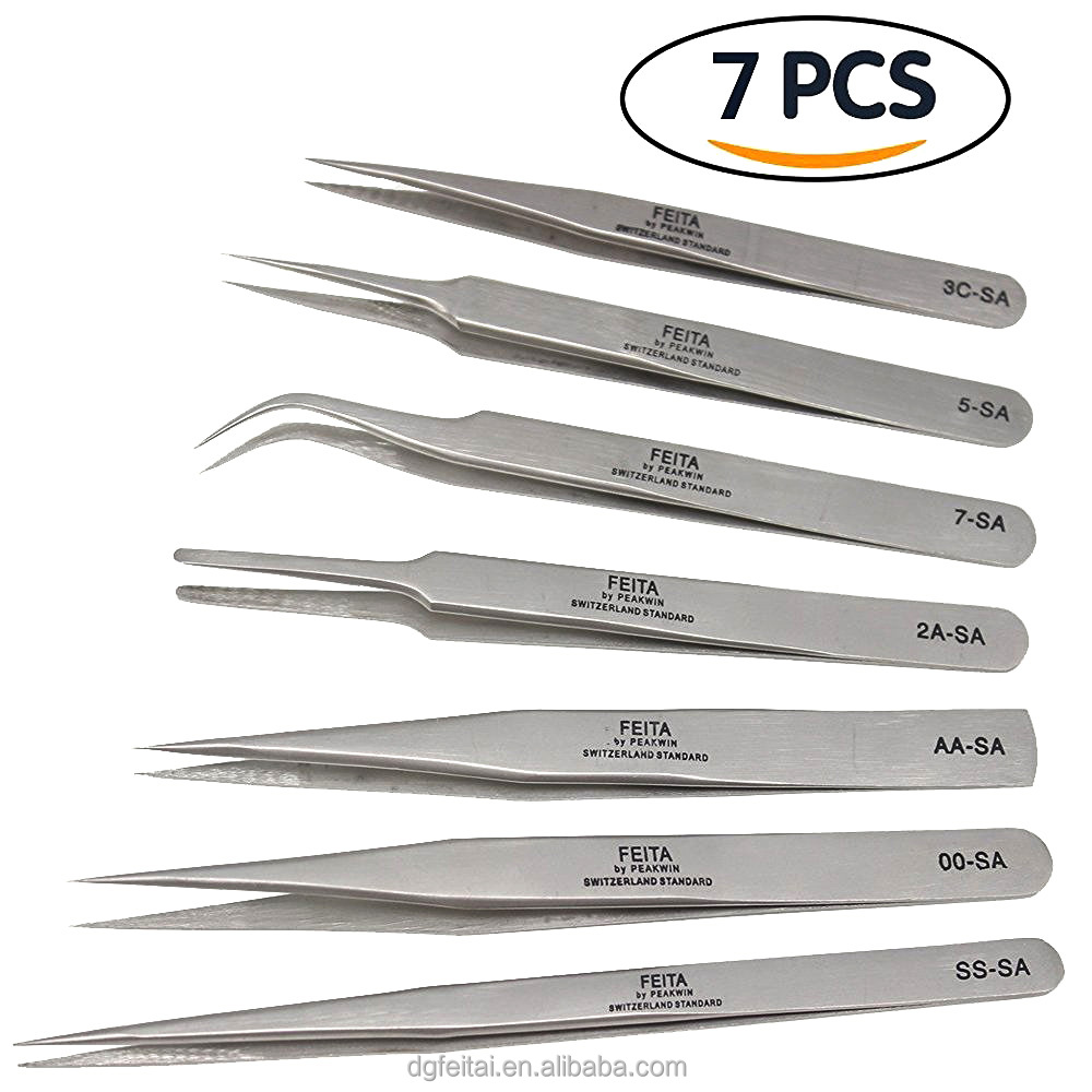 SA Series High Quality Stainless Steel New Fine Point Tweezers Set Needle Nose Tweezers