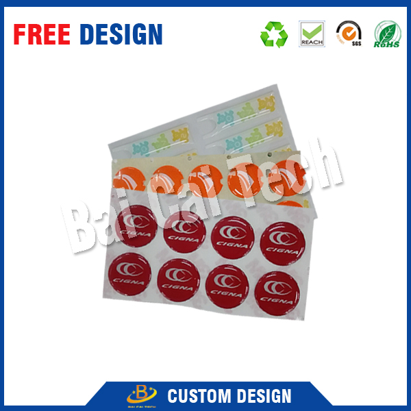 5 years warranty factory price soft round epoxy sticker