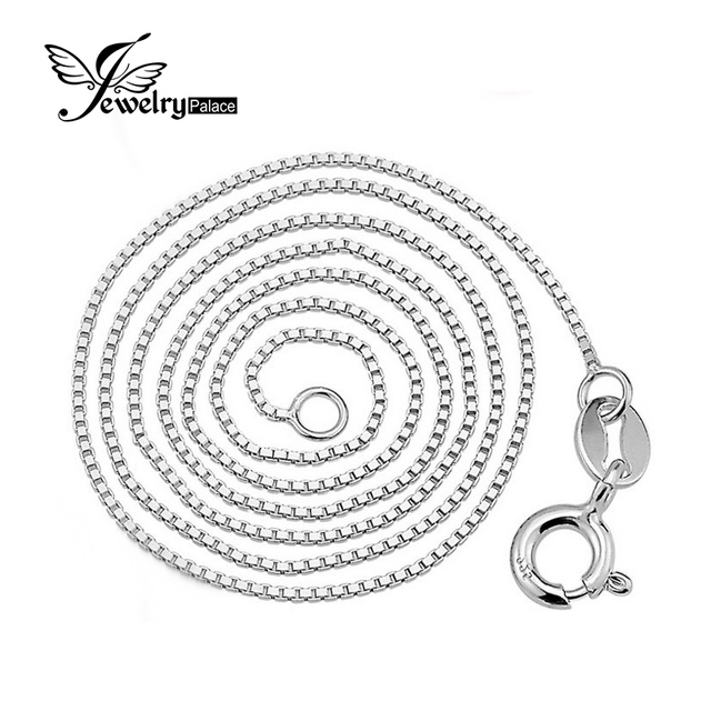 Jewelrypalace New Italian Box Chain Necklace Only Send With Our Pendant Pure 925 Solid Sterling Silver 0.8 1mm  16 18 Inch