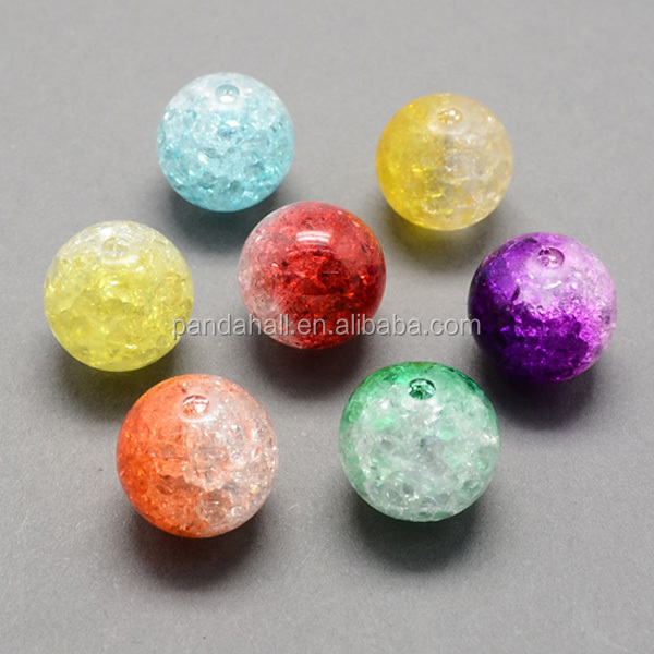 Two Tone Transparent Crackle Acrylic Beads for Beads Jewelry 8mm Hole 2mm about 1892pcs/500g