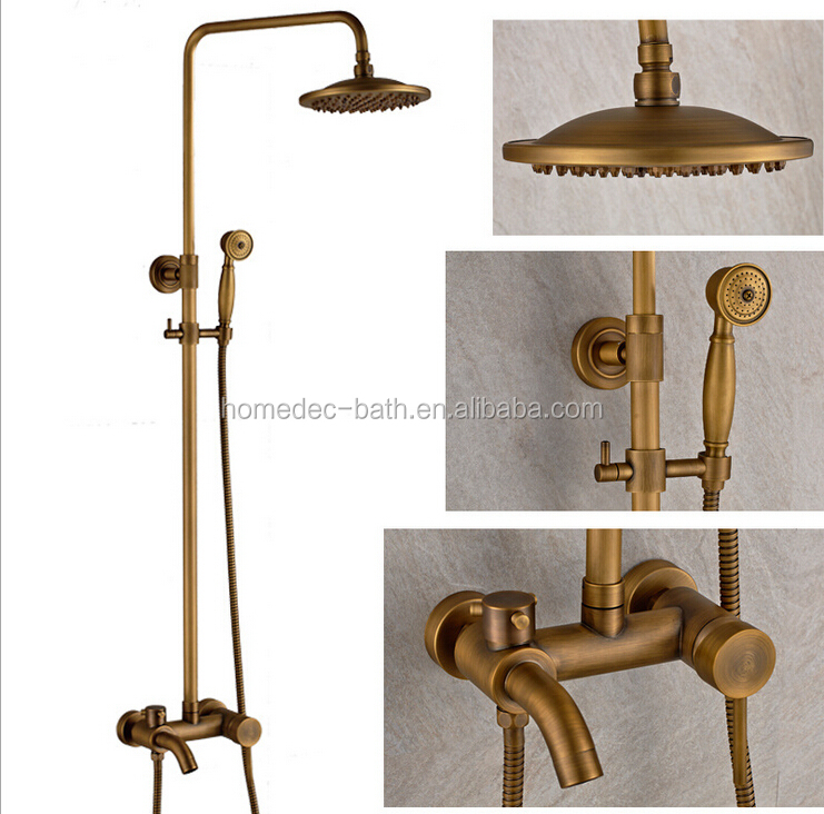 European antique exposed rainfall shower set with sliding bar