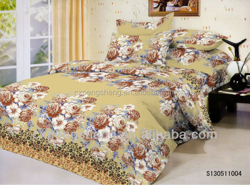 High quality Polyester twill woven fabric flower designs for making bedding sets/bed sheets fabric