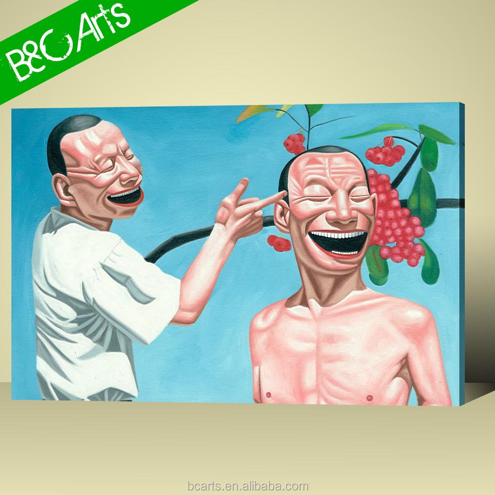 YR(7402) Humorous men portrait painting newest painting for wholesale abstract canvas print