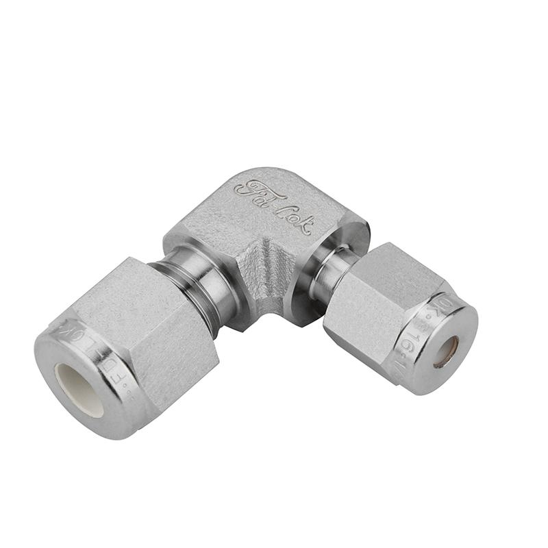 SS Reducing Elbow Union Connector Compression Double Ferrule OD Fitting