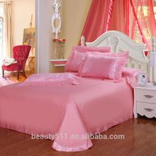 European Style romantic Bedding Set Satin Bed Sheets Four-piece Pink Princess Bed Sheets latest lace 4pcs bed sheet set BSS40