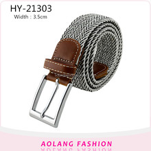 Male Braided Rope Strap cotton Leather Woven Stretch belt