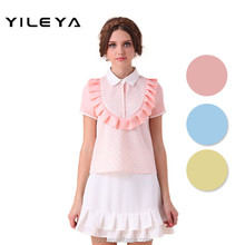cute neck designed young ladies models short sleeve blouse