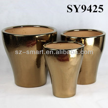 Flower pot for sale golden large ceramic flower pot