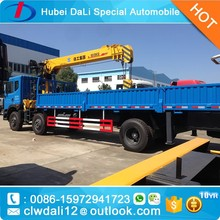 Construction machine DongFeng 6x2 10 ton truck with crane for sale,telescoping boom mobile crane,truck crane