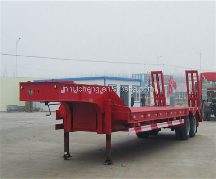 3 AXLES 55T LOWBED SEMI TRAILER WITH EXTENDABLE PLATFORM AND HYDRAULIC STEERING AXLES