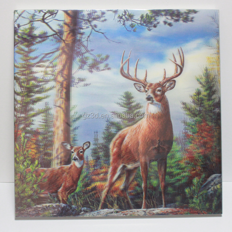 Frameless wall hanging 3d pictures with animal image
