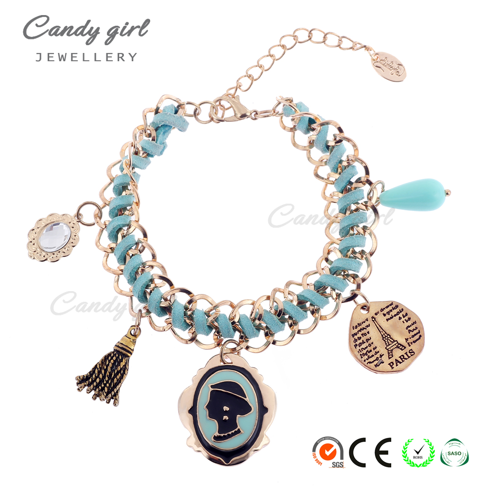 Candygirl brand handmade tassels 2017 fashion accessories leather lady woven jewelry charm women bracelet