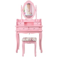Pink Wooden Mirror Dresser Home Furniture Dressing Table