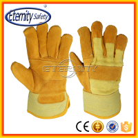 top quality workman use yellow cow split leather glove