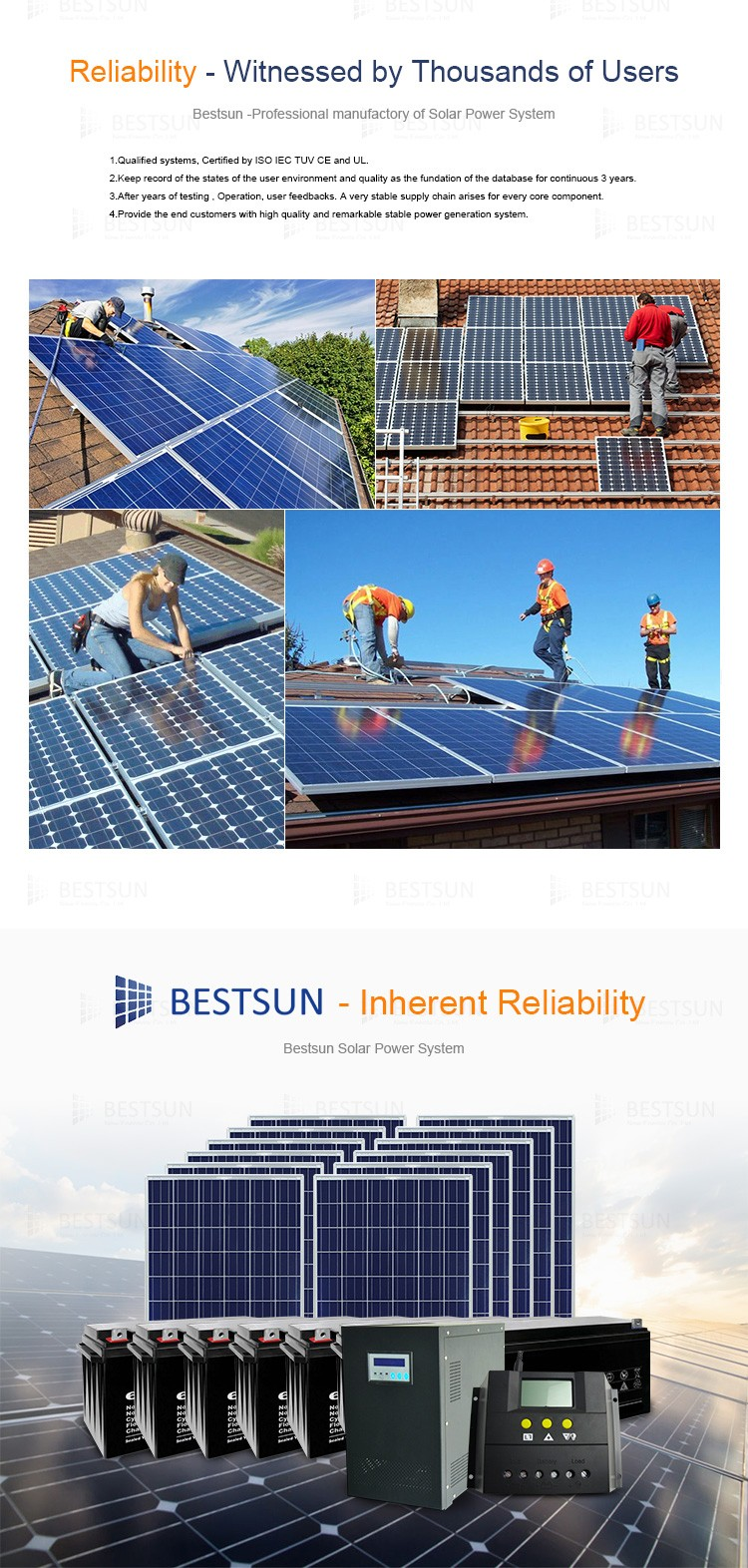 BESTSUN 12000W solar panel kits for home grid system