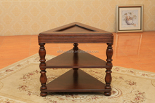 High quality 3 tiers triangle antique solid wooden corner table for bedroom or living room