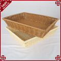 Rectangle shape plastic wicker rattan bread basket