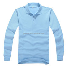 Sky blue men 100% cotton POLO shirts long sleeve, designer shirts for men from turkey, wholesale men button up shirts