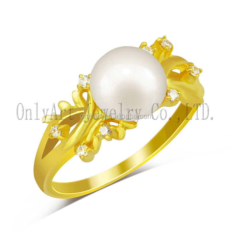 18k gold plated silver women ring with freshwater pearl