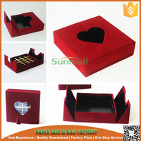 Red color hinged with heart shape window cardboard packaging gift box