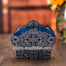 wholesale 100pcs low price Wedding party favors supplies Luxurious 105*92*32 mm laser cut paper blue chocolate CANDY BOX